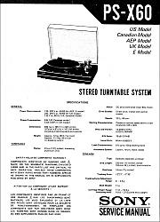 Sony PS-X60 serviso instrukcija [en]